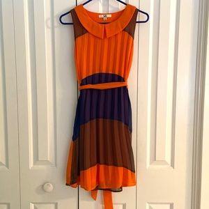 Orange and Blue Pleated Collar Dress